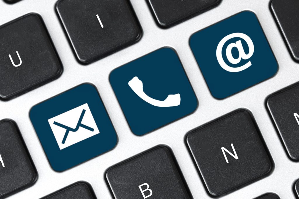 Contact us on keyboard key. Internet or online contact through website.